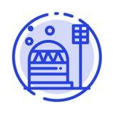 基地,殖民地,建筑,圆顶,居住蓝色虚线线象 库存例证