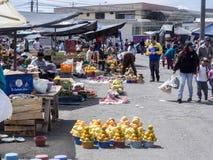 基多、EQUADOR - 2017年12月07日,果子富有的提议,菜和肉,基多市场, 2017年12月07日,基多,厄瓜多尔 免版税库存图片