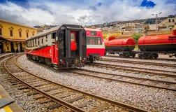 基多,厄瓜多尔2017年8月20日:厄瓜多尔蒸汽colomotive在chinbacalle训练博物馆,位于市基多 免版税库存照片