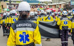 基多,厄瓜多尔- 2018年1月31日:室外观点的hospitalary atentions和紧急状态的未认出的学生,举行 库存图片
