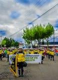 基多,厄瓜多尔- 2018年1月31日:室外观点的hospitalary atentions和紧急状态的未认出的学生,举行 免版税库存图片