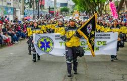 基多,厄瓜多尔- 2018年1月31日:室外观点的hospitalary atentions和紧急状态的未认出的学生,举行 免版税图库摄影