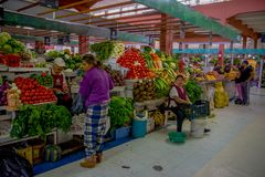 基多,厄瓜多尔- 2016年11月23日:未认出的人民买的食物、蔬菜和水果在市政市场上 库存照片