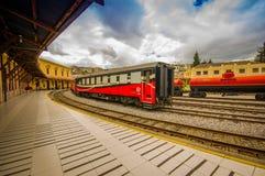 基多,厄瓜多尔2017年8月20日:美丽的厄瓜多尔蒸汽colomotive在chinbacalle训练博物馆,位于城市 库存图片