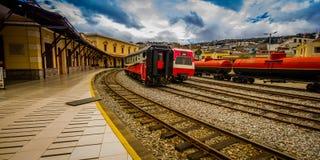 基多,厄瓜多尔2017年8月20日:美丽的厄瓜多尔蒸汽colomotive在chinbacalle训练博物馆,位于城市 免版税图库摄影