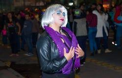 基多,厄瓜多尔- 2016年12月31日:一套通常代表一名寡居的妇女的未认出的女服黑暗的衣裳,他们 免版税库存照片