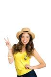 基多,厄瓜多尔- 2017年5月06日:佩带正式马拉松橄榄球衬衣常设饰面照相机的年轻厄瓜多尔妇女 免版税库存照片