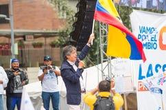 基多,厄瓜多尔- 2017年3月26日:吉列尔莫套索, CREO SUMA联盟的总统候选人在他的竞选的 免版税库存照片