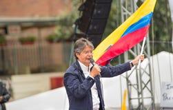 基多,厄瓜多尔- 2017年3月26日:吉列尔莫套索, CREO SUMA联盟的总统候选人在他的竞选的 免版税图库摄影