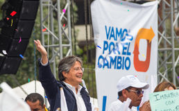 基多,厄瓜多尔- 2017年3月26日:吉列尔莫套索, CREO SUMA联盟的总统候选人在他的竞选活动的 免版税库存图片