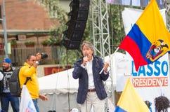 基多,厄瓜多尔- 2017年3月26日:吉列尔莫套索, CREO SUMA联盟的总统候选人,在一个阶段在期间 免版税库存照片