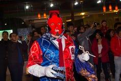 基多,厄瓜多尔- 2016年2月02日:未认出的人穿戴了参加Diablada,普遍的镇 库存图片