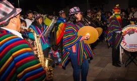 基多,厄瓜多尔- 2016年2月02日:未认出的人穿戴了参加Diablada,有a的一个人 免版税库存图片