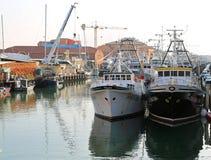 基奥贾, VE,意大利- 2018年2月11日:大渔船moo 免版税图库摄影