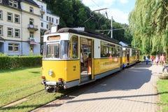 基尔尼茨希塔尔电车轨道在巴德尚道,撒克逊人的瑞士 免版税图库摄影