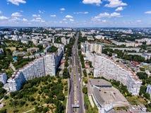 基希纳乌,共和国摩尔多瓦,鸟瞰图城市门  免版税库存照片