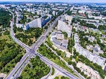 基希纳乌,共和国摩尔多瓦,鸟瞰图城市门  库存照片