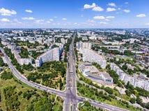 基希纳乌,共和国摩尔多瓦,鸟瞰图城市门  库存图片