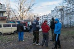 """基希纳乌,摩尔多瓦†""""2015年12月20日:未认出的人在基希纳乌 库存照片"""