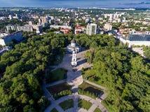 基希纳乌,摩尔多瓦共和国,从寄生虫的鸟瞰图 库存照片
