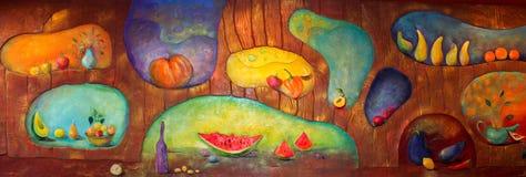 基希纳乌,摩尔多瓦- 2018年2月03共和国日:在墙壁上的静物画在水果和蔬菜题材  库存照片