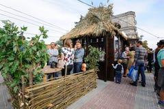 基希纳乌,摩尔多瓦- 2016年10月1共和国日:在中心广场的庆祝全国酒天资本 免版税图库摄影