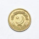 巴基斯坦卢比硬币仔细的审视  库存照片