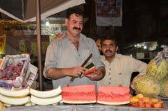 巴基斯坦摊贩的画象,拉合尔,旁遮普邦,巴基斯坦 库存图片