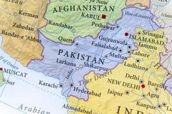 巴基斯坦的地理地图有重要城市的 库存图片