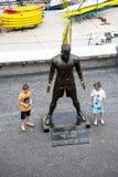 基斯坦奴・朗拿度,国际足球运动员普遍的雕象,出生在马德拉岛 免版税库存图片