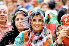 巴基斯坦Tehreek-e-Insaf支持者 库存图片