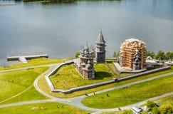 基日岛Pogost,卡累利阿,俄罗斯鸟瞰图  免版税库存照片