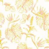 基本的传染媒介与棕榈叶和手拉的乱画的RGBSweet vinatge现代无缝的样式异乎寻常的森林掠过了线 向量例证