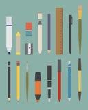 基本的图画和文字工具 库存例证