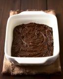 基本的自创果仁巧克力或巧克力蛋糕面团 库存照片