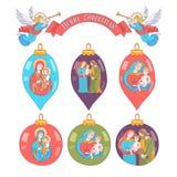 基本的RGBMerry圣诞节 套与圣洁家庭的图象的圣诞节球 库存例证