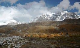基本阵营野营的珠穆琅玛线索 免版税库存照片