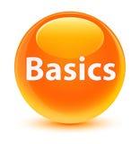 基本玻璃状橙色圆的按钮 免版税图库摄影