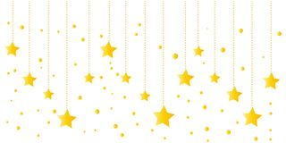 Merry christmas greeting card with border design of hanging golden yellow stars vector background. stock illustration