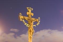 基督交叉金子耶稣 免版税库存照片