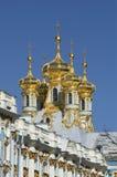 基督凯瑟琳宫殿, Tsarskoye Selo的复活的教会的圆顶 免版税库存图片