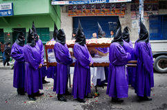 基督受难日队伍在拉巴斯,玻利维亚 图库摄影