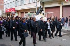 基督受难日队伍在拉巴斯,玻利维亚 库存照片