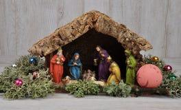 基督圣诞节小儿床耶稣・约瑟夫・玛丽诞生场面 图库摄影