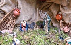 基督圣诞节小儿床耶稣・约瑟夫・玛丽诞生场面 免版税图库摄影