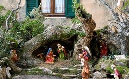 基督圣诞节小儿床耶稣・约瑟夫・玛丽诞生场面 库存照片