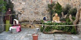 基督圣诞节小儿床耶稣・约瑟夫・玛丽诞生场面 免版税库存图片