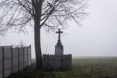 基督在墙壁旁边的` s酷刑在涌现从薄雾的树下 免版税库存图片