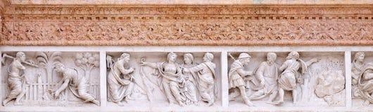 基督在抹大拉的马利亚庭院,抹大拉的马利亚指出救世主,并且耶稣伴随门徒的旅途 库存图片