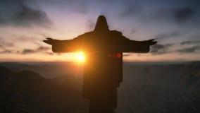 基督在日出,里约热内卢,巴西的Redemeer 库存图片